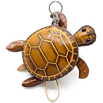 Turtle Design Genuine Handcrafted Wristlets Cash Coin Purses with Key Ring for Womens Brown