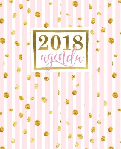 Agenda: 2018 Agenda semana vista espaol : 190 x 235 mm, 160 g/m : Rayas rosas con manchas doradas (Calendarios, agendas y organizadores personales) (Volume 13) (Spanish Edition)