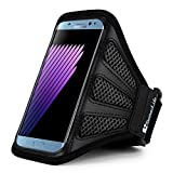 Sumaclife Mesh Nylon Workout Running Armband for Samsung Galaxy Note 8/S8+/S8 Active/A5 A7 C7 J5 J7/J7 Pro/J7 Perx/J7 V/C5 C7 Pro/Xcover 4 (Black/Black)