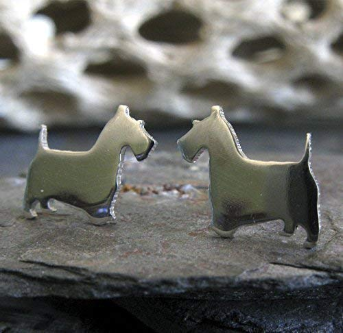 Scottish Terrier Scottie Dog Stud Earrings Polished Sterling Silver Handmade in USA