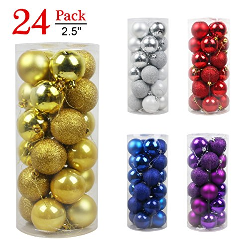 Large Ball Ornament (Christmas Balls Ornaments for Xmas Tree-Shatterproof Christmas Tree Decorations Large Hanging Ball Gold 2.5