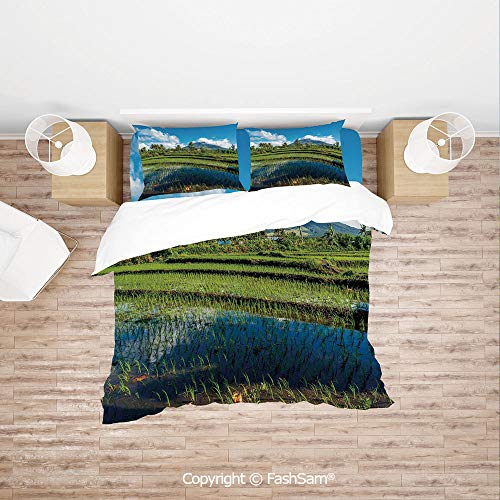 FashSam Duvet Cover 4 Pcs Comforter Cover Set Idyllic View of Mayon Volcano Mountain in Philippines Tropical Landscape Decorative for Boys Grils Kids(King)