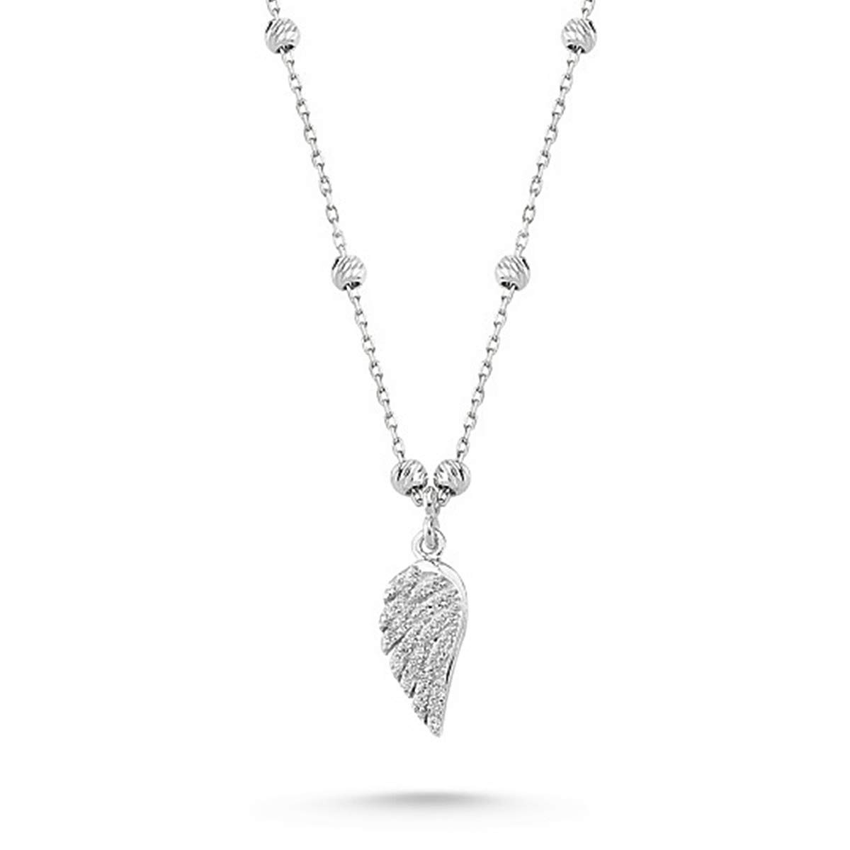 Engelsfl/ügel Zirkonia 42cm Kette 925 Echt Silber Kinder Damen M/ädchen Halskette Fl/ügel