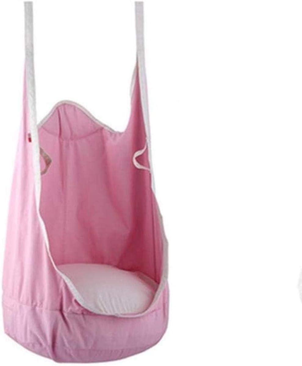 XXJJZON Playa de Lona de Camping/Hamaca de algodón,Mecedora de Tela Niños Colgantes Bolsa de Nido de pájaro Rana Columpio Silla de bebé Regalo de Interior (Color: Rosa Tamaño: 140 * 75 cm)
