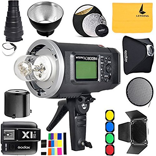 GODOX AD600BM 600Ws GN87 Sync 1 / 8000s 2.4G Wireless Flash Light Speedlite,GODOX X1T-S Flash Trigger,80 X 80 CM Softbox,Standard Reflector and Grid,Barn Door,32'' 5-in-1 Reflector,Monolights Kits by Godox