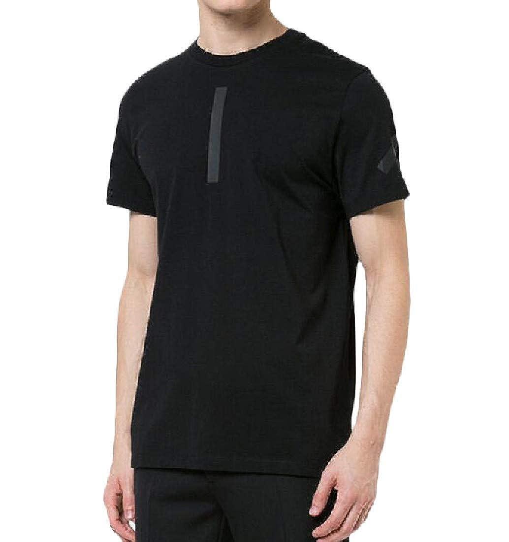 Hajotrawa Men Pullover Short Sleeve Round Neck Printed Vogue Tops T-Shirt