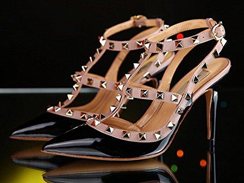 Beige La Verni Finition Femmes Sandales Pompes Rivets Hauts Clouté Clous Salomés D'or Talons Classique Aiguille Chaussures Cheville Noir Talon À Camssoo Z4qwpnwx5T