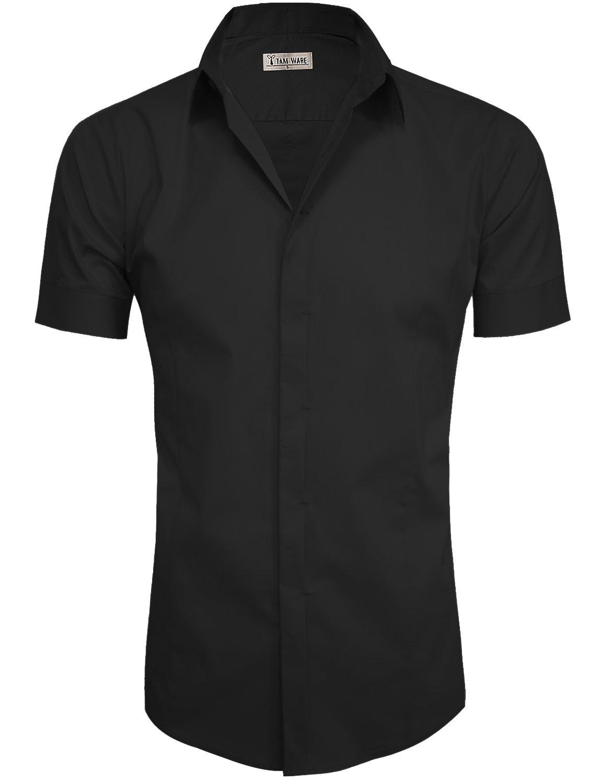 TAM WARE Mens Casual Plain Short Sleeve Button Down Shirts TWCMS19A-S18-BLACK-US XL