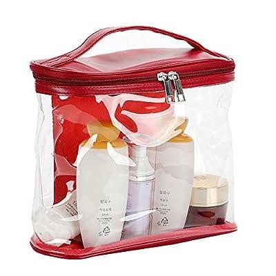 Buyanputra Transparent Makeup Storage Bag Travel Cosmetic Handbag (Wine  Red) good d0415adc653f6
