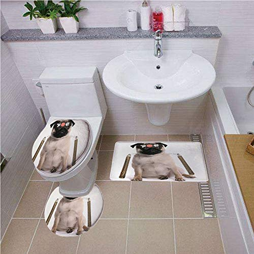 Bath mat set Round-Shaped Toilet Mat Area Rug Toilet Lid Covers 3PCS,Pug,Ninja Puppy with Nunchuk Karate Dog Eastern Warrior Inspired Costume Pug Image Decorative,Cream Black Gold ,Bath mat set Round-