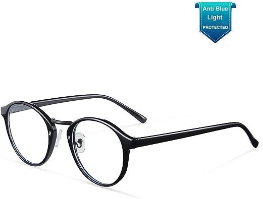 OQ CLUB Oversized Retro Round Blue Light Glasses Metal Optical Eyewear Non Prescription Eyeglasses Frame for Women Men