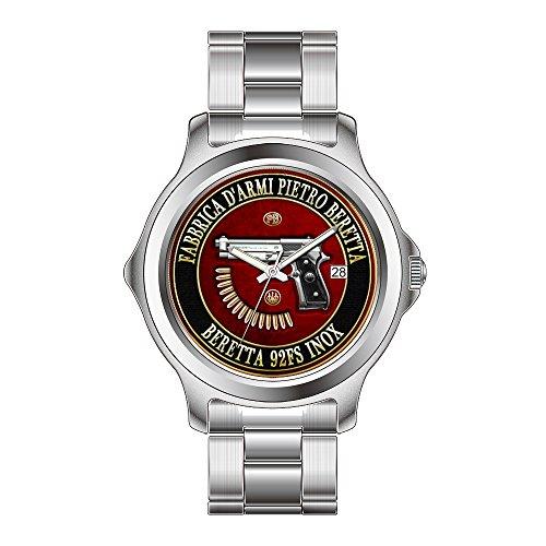 FDC Christmas Gift Watches Women's Fashion Japanese Quartz Date Stainless Steel Bracelet Watch Beretta 92FS Inox with Ammo on Red Velvet Wristwatch -  FDC-LQL1029-239
