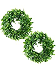 """FULANDL 2PCS Artificial Green Leaves Wreath, 11"""" Faux Boxwood Wreath Farmhouse Greenery Wreath, Round Eucalyptus Wreath Outdoor Green Wreath for Front Door Wall Hanging Window Party Decoration (Small)"""