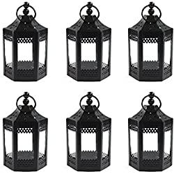 "6pc 4.5"" Metal Tealight Mini Black Candle Lanterns"