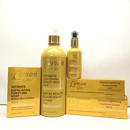 Lemon Glow Ultimate Lightening Set of Milk, Soap, Cream, Gel, and Serum. (Lemon Skin Lightening Serum)