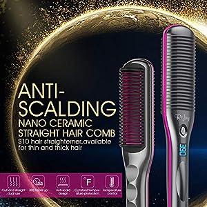 Hair Straightener Brush, Rifny Heated Hair Straightening Comb with Anti Scald Auto Temperature Lock 3 Heat Levels, 30S Fast Ceramic Heating Straightening Brush for Home, Travel and Salon (S10)