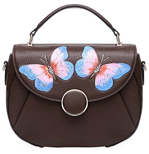 PIJUSHI Designer Shoulder Purses Women's Genuine Leather Bag CrossBody Bag Summer (8002 Brown Butterfly)
