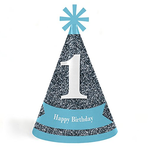1st Birthday Boy - Fun to Be One - Cone Happy First Birthday Party Hats for Kids and Adults - Set of 8 (Standard - Cone Boy Birthday 1st Hat