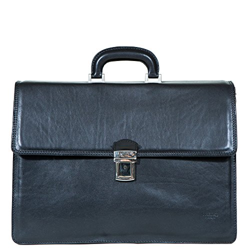 I Medici Lorenzo Italian Triple Compartment Briefcase, Business Bag in Black (17' Leather Brief Laptop)