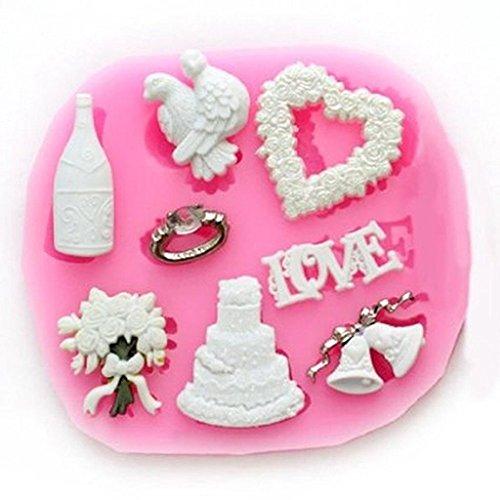 La Tartelette Silicone Mold Mini Fondant Silicone Sugar Craft Mold - Love Wedding Accessories ()