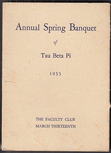 Yale Spring - Tau Beta Pi Engineering Honor Society Spring Banquet Menu & Program Yale U 1935