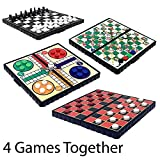 GLOW Set of 4 Compact Magnetic Board Games in Folding Case – Chess, Ludo, Draughts, Snakes & Ladders - Easy to Play Mini Classic Family Home Party Board Game Car Travelling Play Activity with Traditional Checkers Board and 24 Black Red Magnetic Pieces - Hours of Travel Fun for Family and Friends in Car, Train, Plane, Holiday, Vacation, Camping – Great Gift Present Idea for Kids Children and Adults Birthday Christmas Xmas - Suitable for 2 Players - Ages 3 and Up (4 Pack)