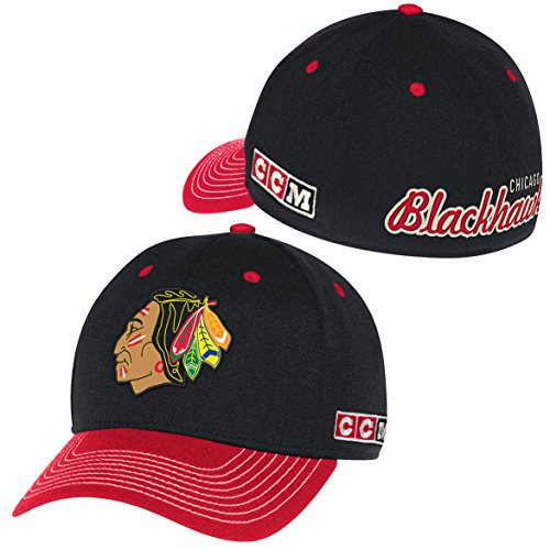 Reebok Chicago Blackhawks CCM NHL Embroidered Applique Team Logo Flex Fitted Hat ()