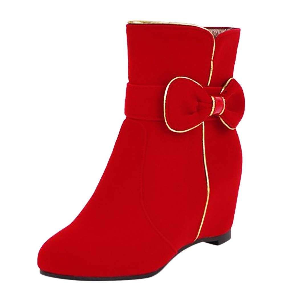 Women Hidden Wedges Ankle Boots Wide Width Fashion Platform Sneaker 2019 New Suede Round Toe Snow Boots (US:7(39), Red)