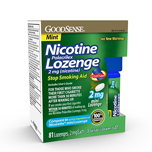 - GoodSense Mini Nicotine Polacrilex Lozenge 2mg, Mint, 81-Count, Stop Smoking Aid, GoodSense Smoking Cessation Products