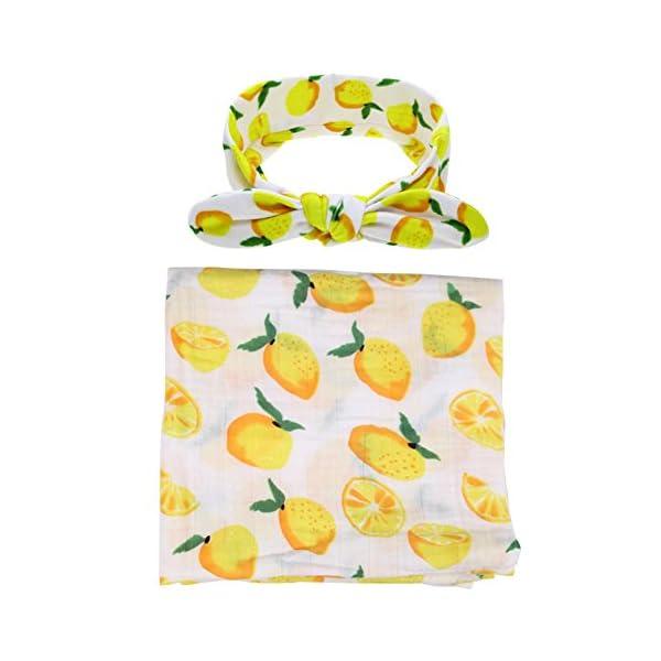 Kakawayi 100% Cotton Newborn Swaddle With Headband 1-3Pcs Sets Baby Receiving Blankets,L120cm * W120cm,Mango