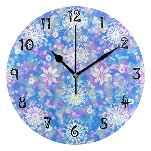 Dozili Pink Snow Flower Wooden Round Wall Clock Arabic Numerals Design Non Ticking Wall Clock Large for Bedrooms,Living Room,Bathroom ()