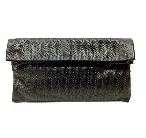 Embossed Black Leather clutch purse Women evening bag orgenaizer Handmade handbag ()
