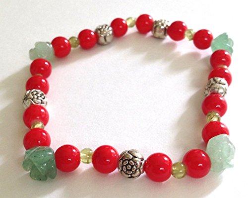 Peridot and Green Aventurine Gemstone, Red Glass Bead Stretch Bracelet