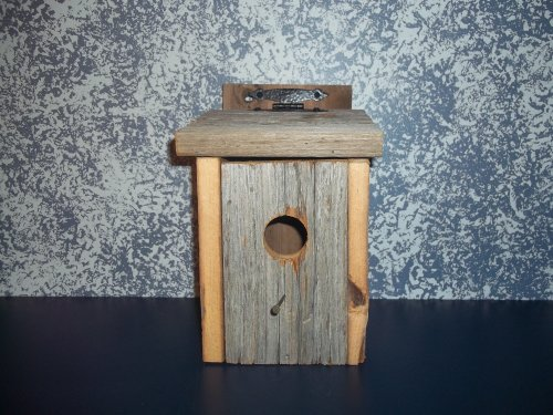 Primitive Country Collectible Bluebird Birdhouse with Leather Hinges. A Sound Barn Wood Birdhouse Nested Especially for Those Darling Bluebirds. Amish Handmade Birdhouse for That Primtiive Country Look in Your Garden Landscape Decor. A Primitive Country Birdhouse That Will Delight Both Your Family Bird Lover and Your Little Feathered Friends. Measures 10″ X 6″ X 5 3/4″. For Sale