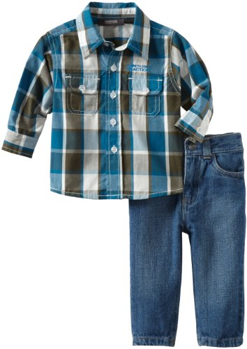 Kenneth Cole Baby Boys' Plaid Shirt With Jean