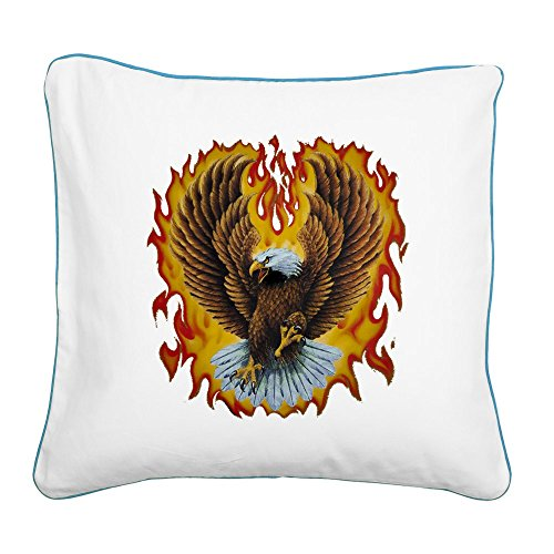 - Square Canvas Throw Pillow Caribbean Blue Eagle with Flames