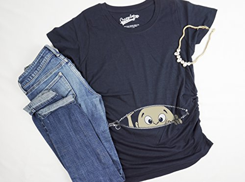 104d0774 Maternity Baby Peeking T Shirt Funny Pregnancy Tee For Expecting Mothers  (Navy) - M