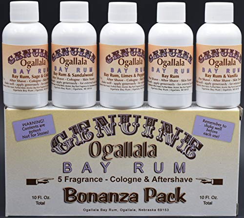 YOUR CHANCE TO TRY ALL FIVE OF OUR BAY RUMS! You will get 1 two-ounce bottle each of: Genuine Ogallala Bay Rum Bonanza! 1 two-ounce bottle each of: Bay Rum Aftershave - Limes and Peppercorns, Sage & C