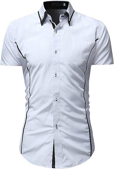Overdose Camisas Hombre Manga Corta Slim Fit Blanca La Moda La Solapa El Botón T Shirt Hombre Elegantes Azul Oscuro: Amazon.es: Ropa y accesorios