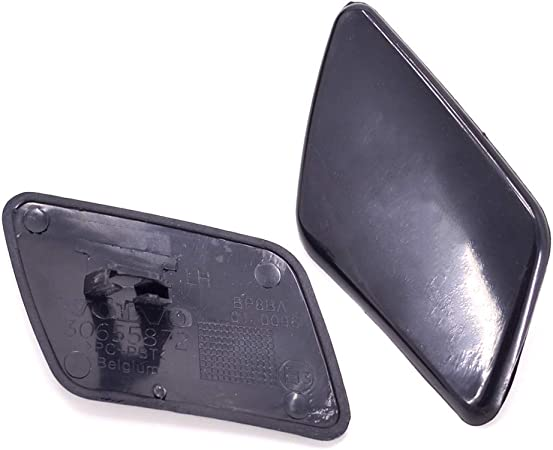 Left /& Right Pikki Front Bumper Headlight Washer Nozzle Cover Cap for Volvo S40 2005-2007