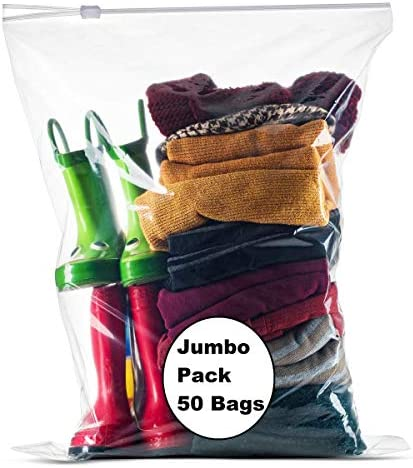 """[PACK of 50 ] Extra Large BIG Food & Organization Storage Bags with Easy Open Close SLIDER closure ,5 Gallon 18""""x 24"""" Clear, 2 Mill. Thick"""