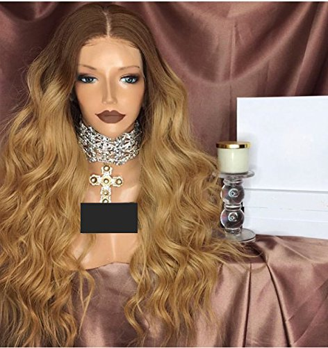 Honey Blonde Human Hair Wigs 150% Denisty Ombre Lace Front Wig Brizilian Human Hair Wigs with Natural Hairline (16 inch, Lace Front -