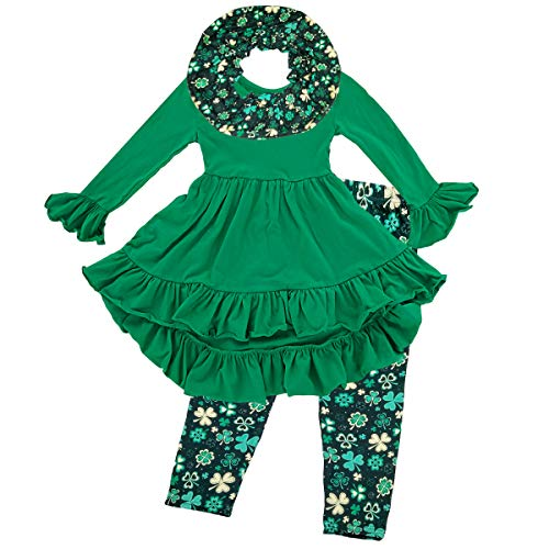 Girls St Patricks Day Outfits - Shamrocks Legging Set with Scarf, Irish Baby Toddlers Birthday Gift Party Parade Costume Clothes Green Clovers, Kids Long Sleeves Tunic Top Blouse Shirt Pants, ()