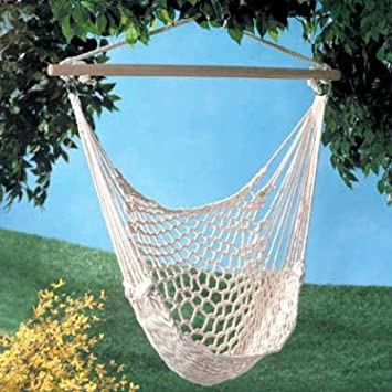 white cotton rope swing hammock hanging outdoor chair garden patio yard porch amazon     white cotton rope swing hammock hanging outdoor chair      rh   amazon