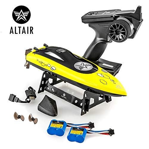 (Altair AA Wave RC Remote Control Boat for Pools & Lakes, Beginner Safe CSP Child Safe Propeller System for Kids, Self Righting, Water Cooled, 2 Batteries, 24 km/h Speed, 2.4gHz, (Lincoln, NE Company))