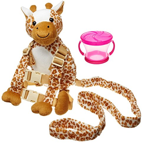 Goldbug Animal 2 in 1 Harness with Travel Snack Cup, Giraffe