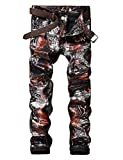 Men's Casual Printed Jeans Skinny Denim Pants (32, 139 Black)