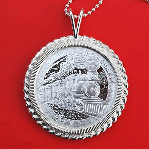 Hobo Nickel Replica The Train 1 oz .999 Fine Silver Round BU Unc Proof-like Coin 925 Sterling Silver Necklace