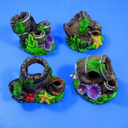 Set Of 4 Piece Barrel Aquarium Ornament resin Decoration Cave - Fish Tank Decor