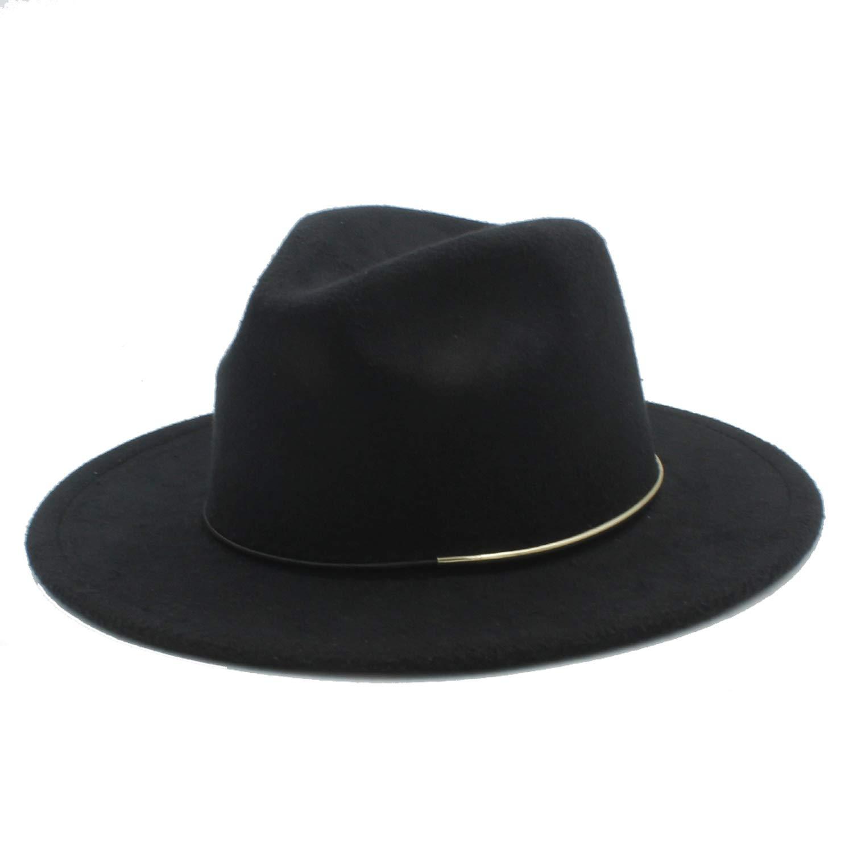 DOSOMI Wool Women Men Fedora Hat for Lady Winter Autumn Floppy Cloche Wide Brim Jazz Caps Size 56-58CM
